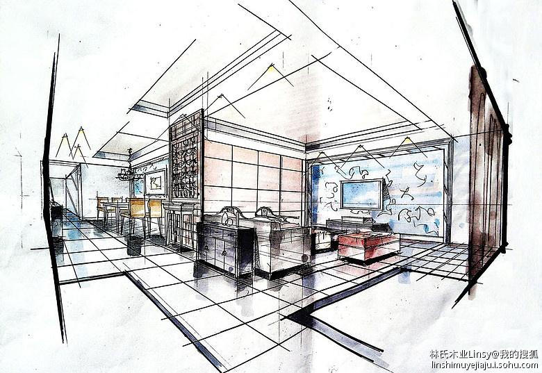 客厅的效果图.辉度空间设计.