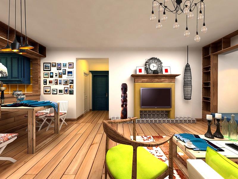 睿力上城 80平80后婚房 混合型风格 80平米二居室装修设计