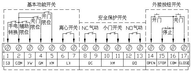 电动转换开关;2和3连接辅助限位开关;2和4连接关门限位开关;2和5连接