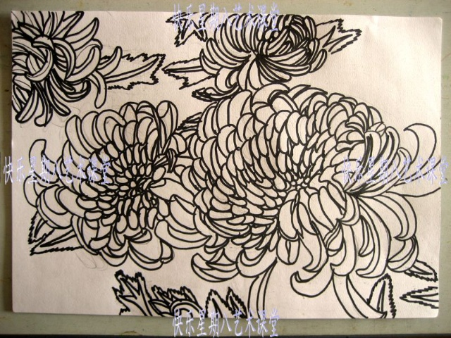 黑白线描画教师范画 风景520