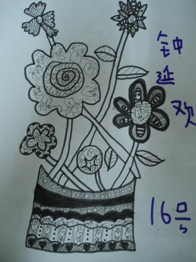 儿童线描画花朵花瓶-女儿的素描 画桥 落絮 搜狐博客