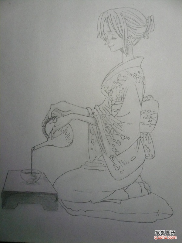 女子简单铅笔手绘
