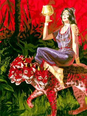 女人yin花_那个女人穿着紫色和朱红色的衣服,浑身上下用金子,宝石,珍珠为装饰;手