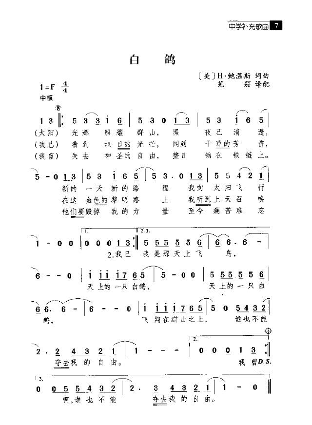 白鸽-曲谱歌谱大全-搜狐博客